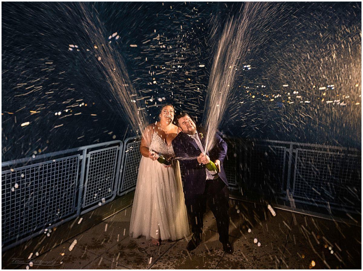Champagne Spray at wedding, Maine Wedding Photography, Ocean Gateway