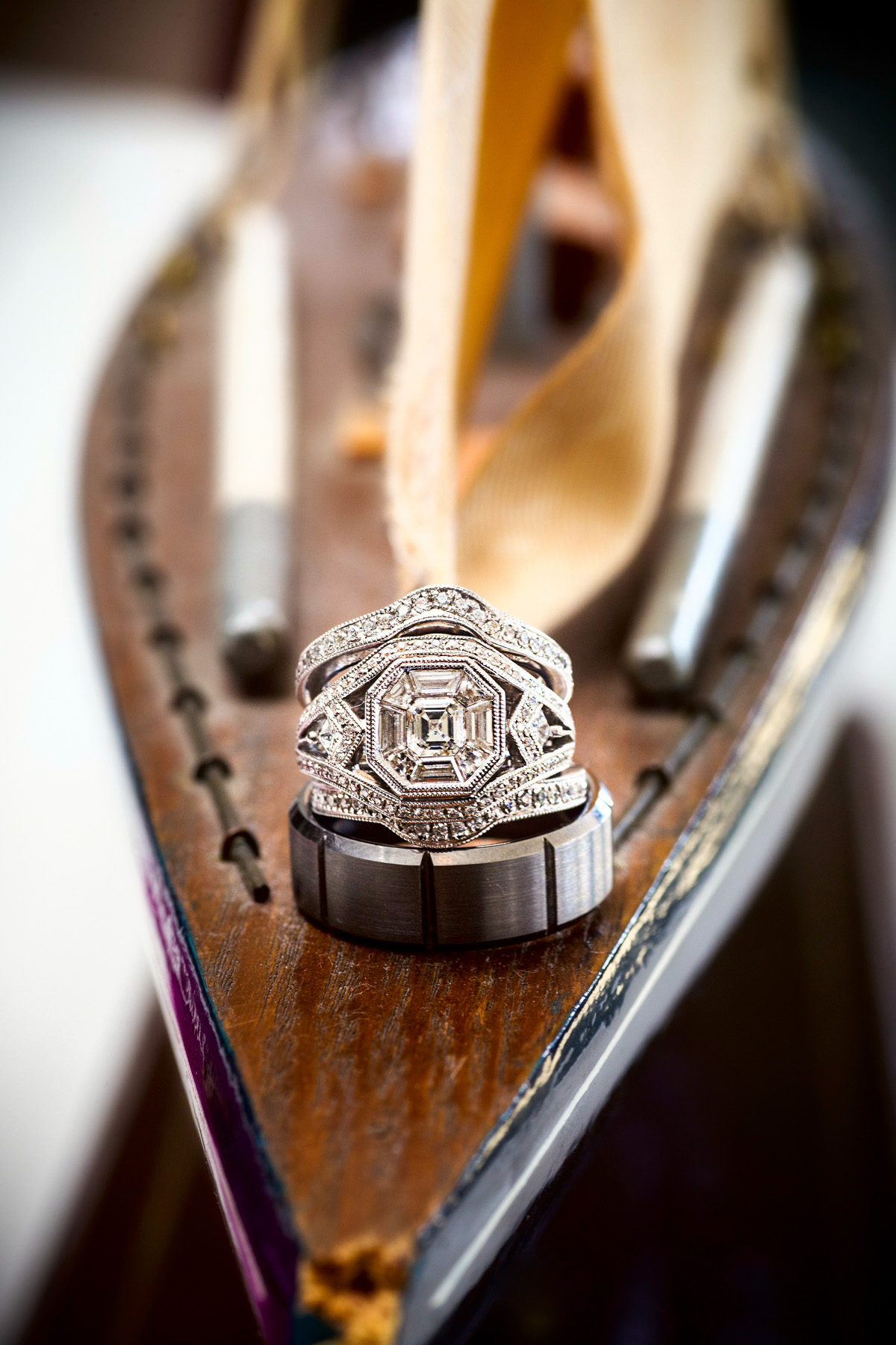 wedding rings on bow of ship
