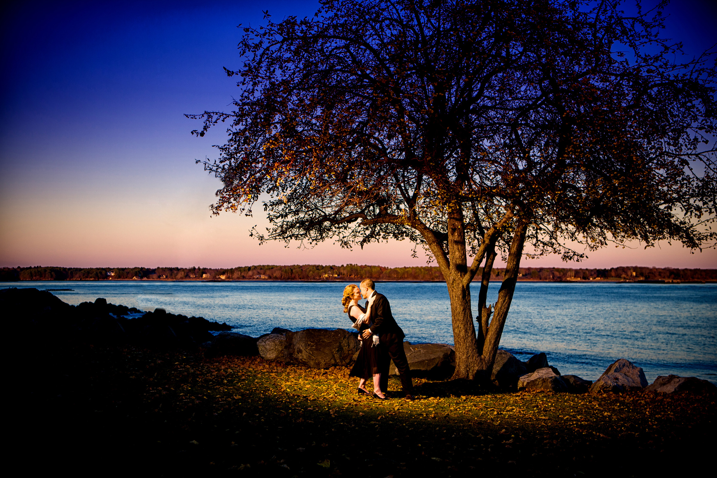 engagement picture at great island commons in new castle, new hampshire