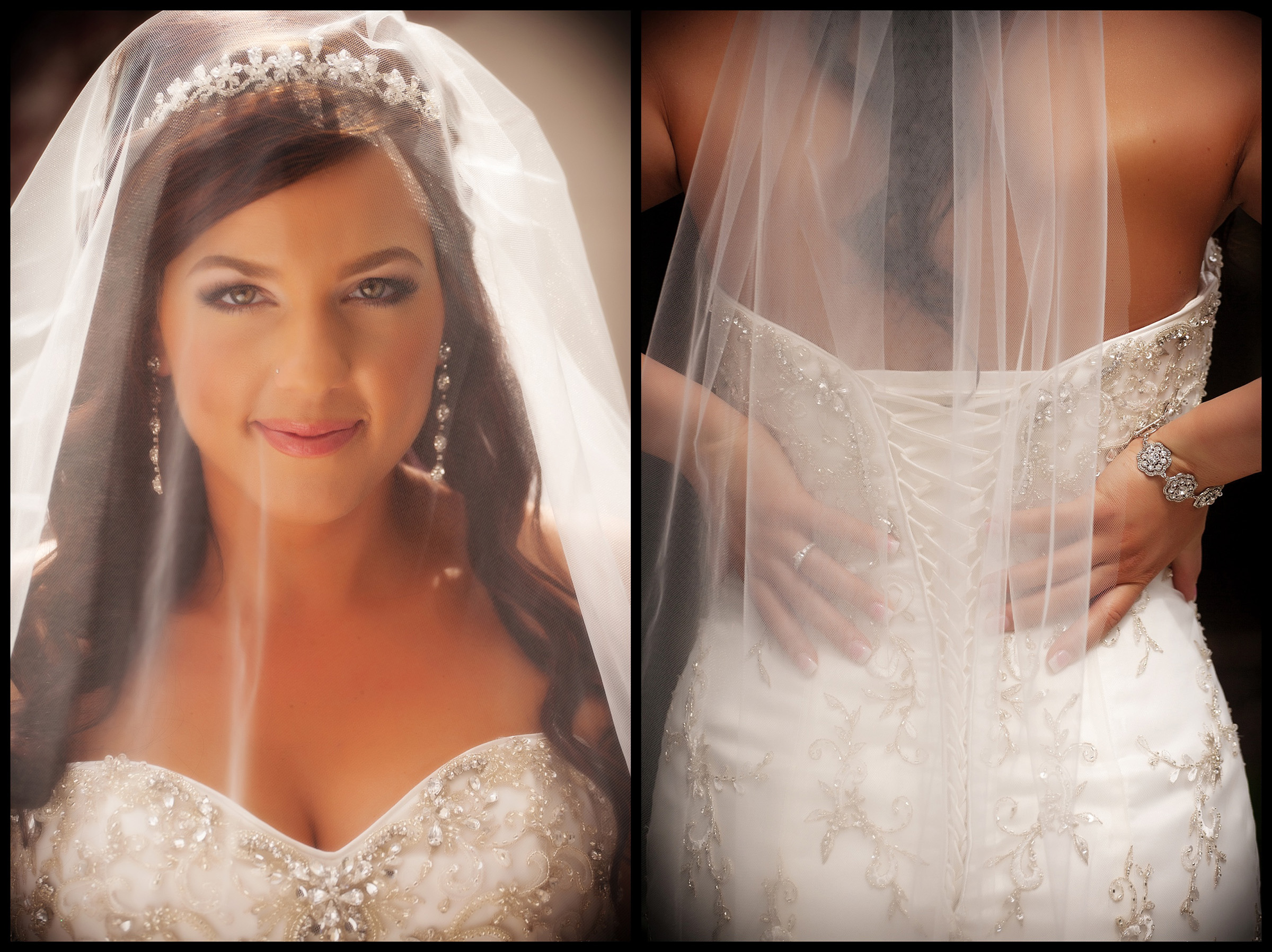 Bride portraits - face under veil, and back of dress