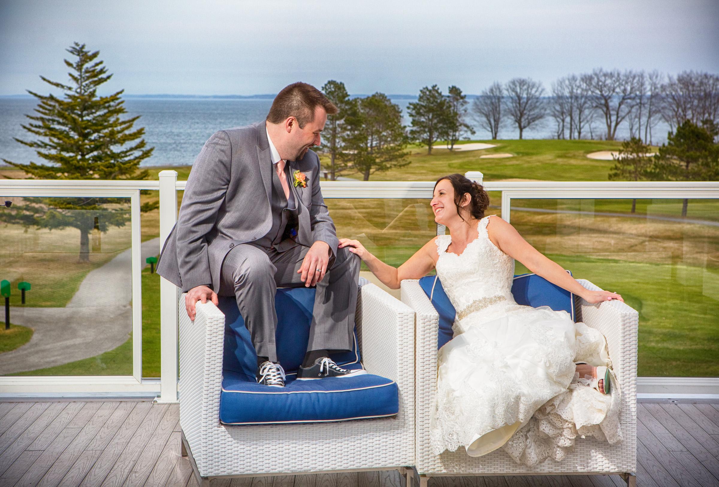 wedding photo of couple at samoset resort