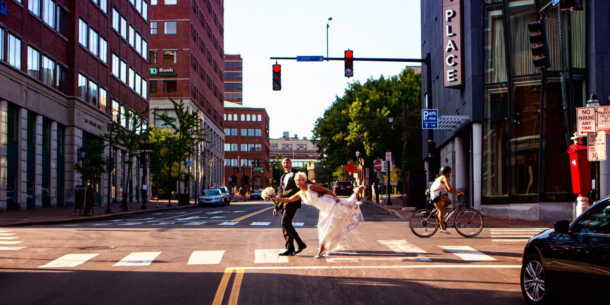 wedding couple crosses street