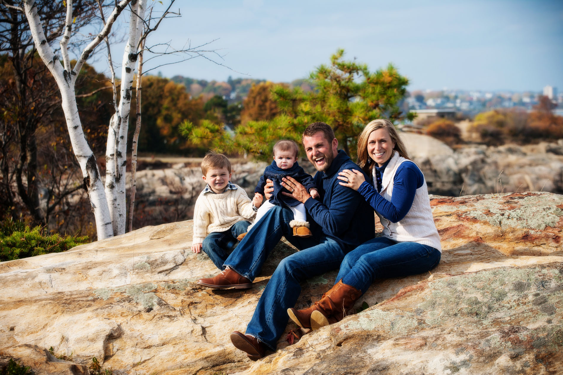 family pictures at the coast in maine with  baby