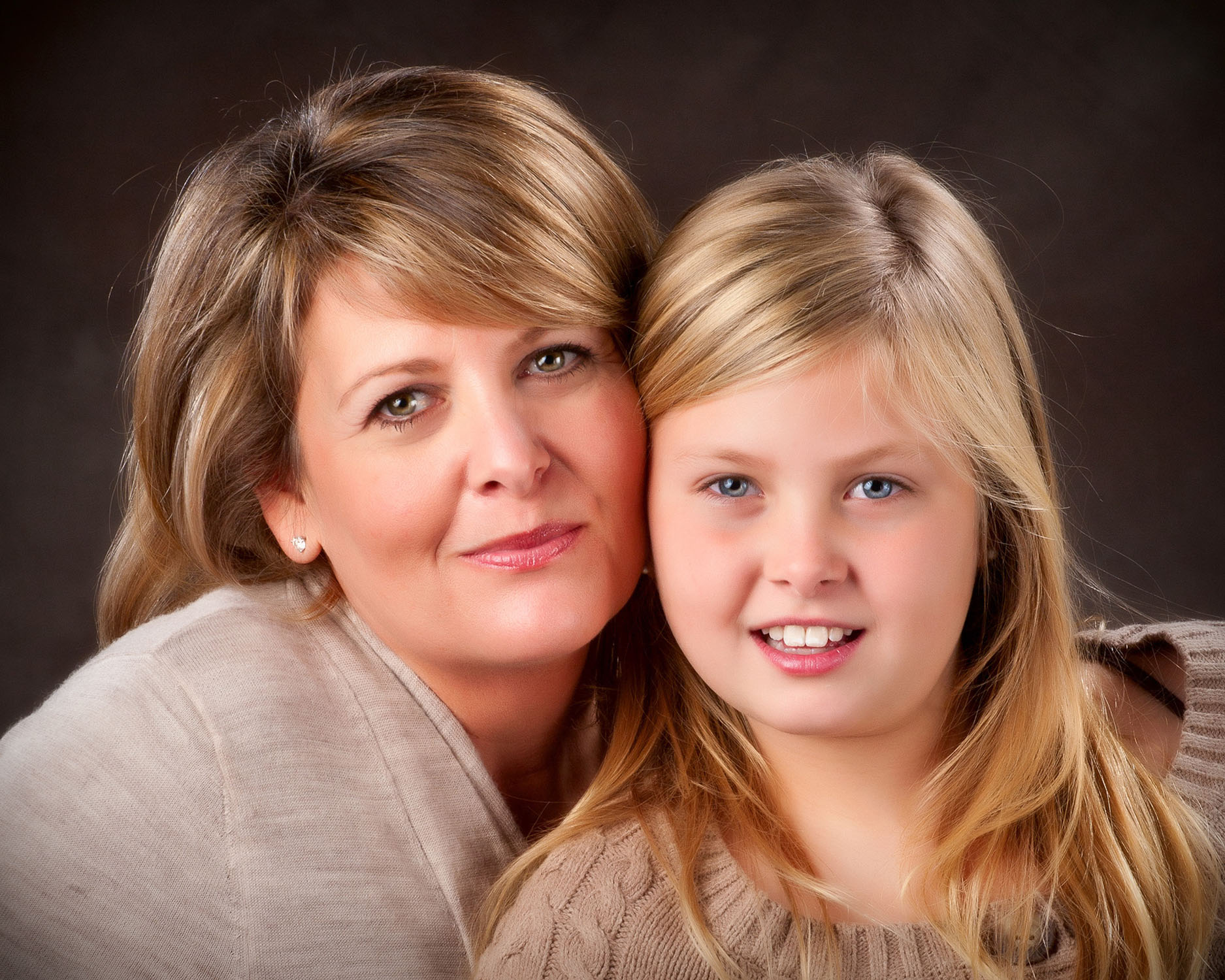 Mother and daughter portrait in studio in Maine