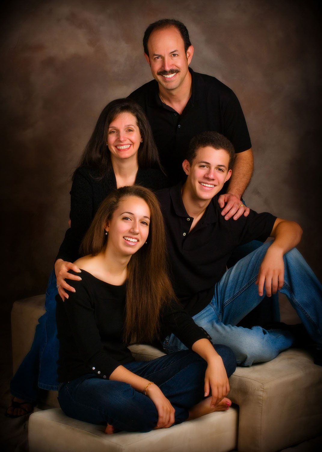 family portrait on brown