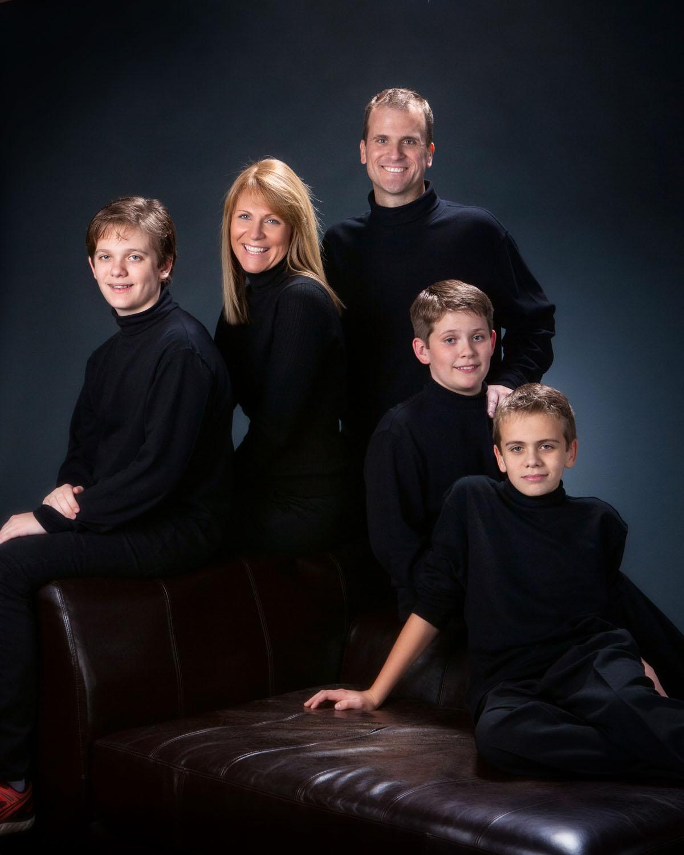 family portrait on gray