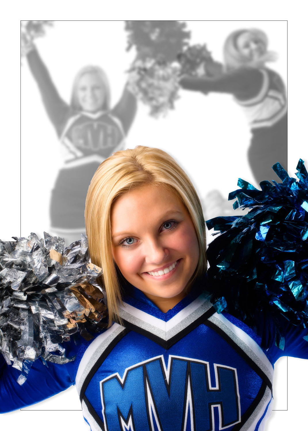 senior photo of cheerleader wearing uniform with pom poms at studio in maine