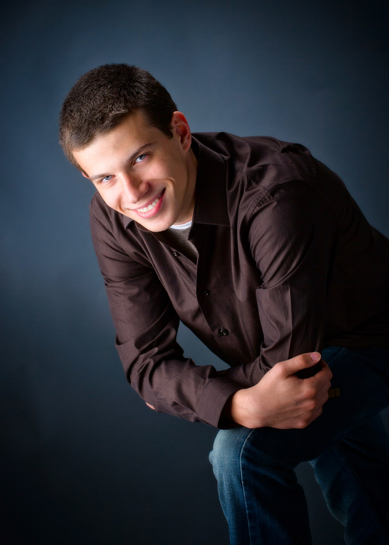 senior boy photographed in studio