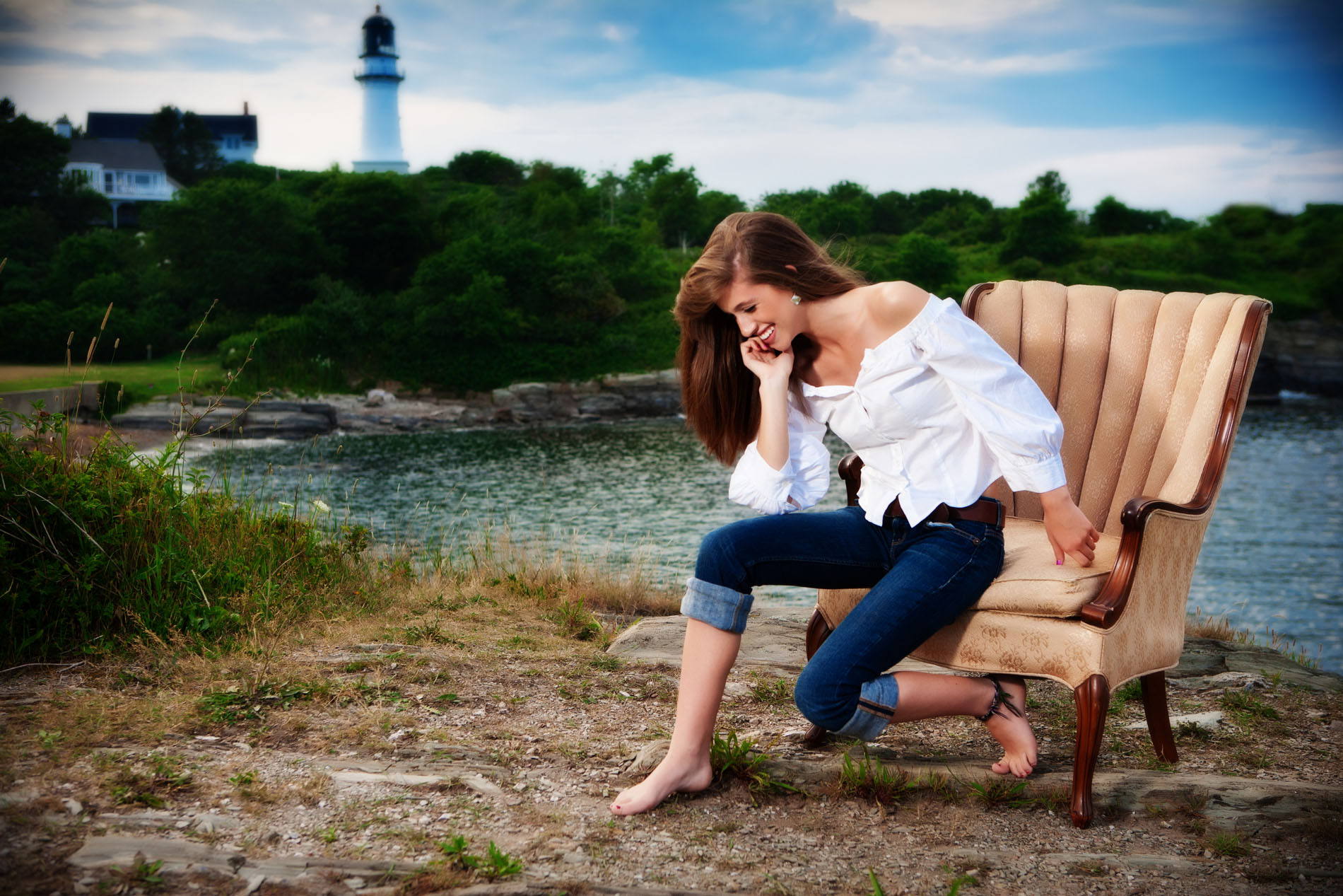 laughing girl at beach in maine