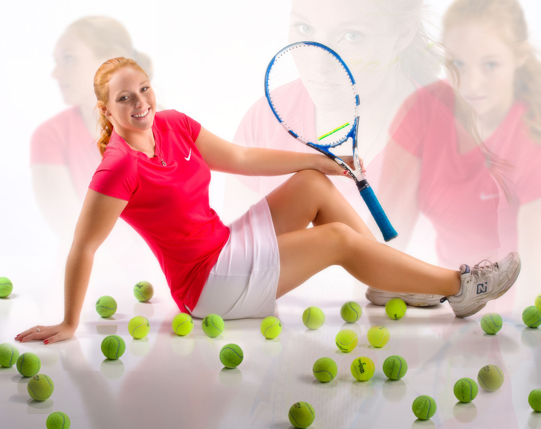 tennis poster of senior girl in portland photography studio