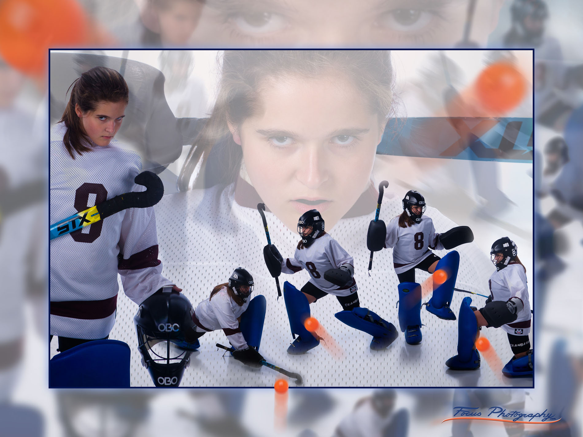 sports poster of field hockey player taken in senior portrait photography studio in maine