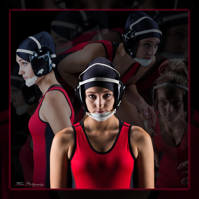 wrestling poster of girl created during senior photo shoot