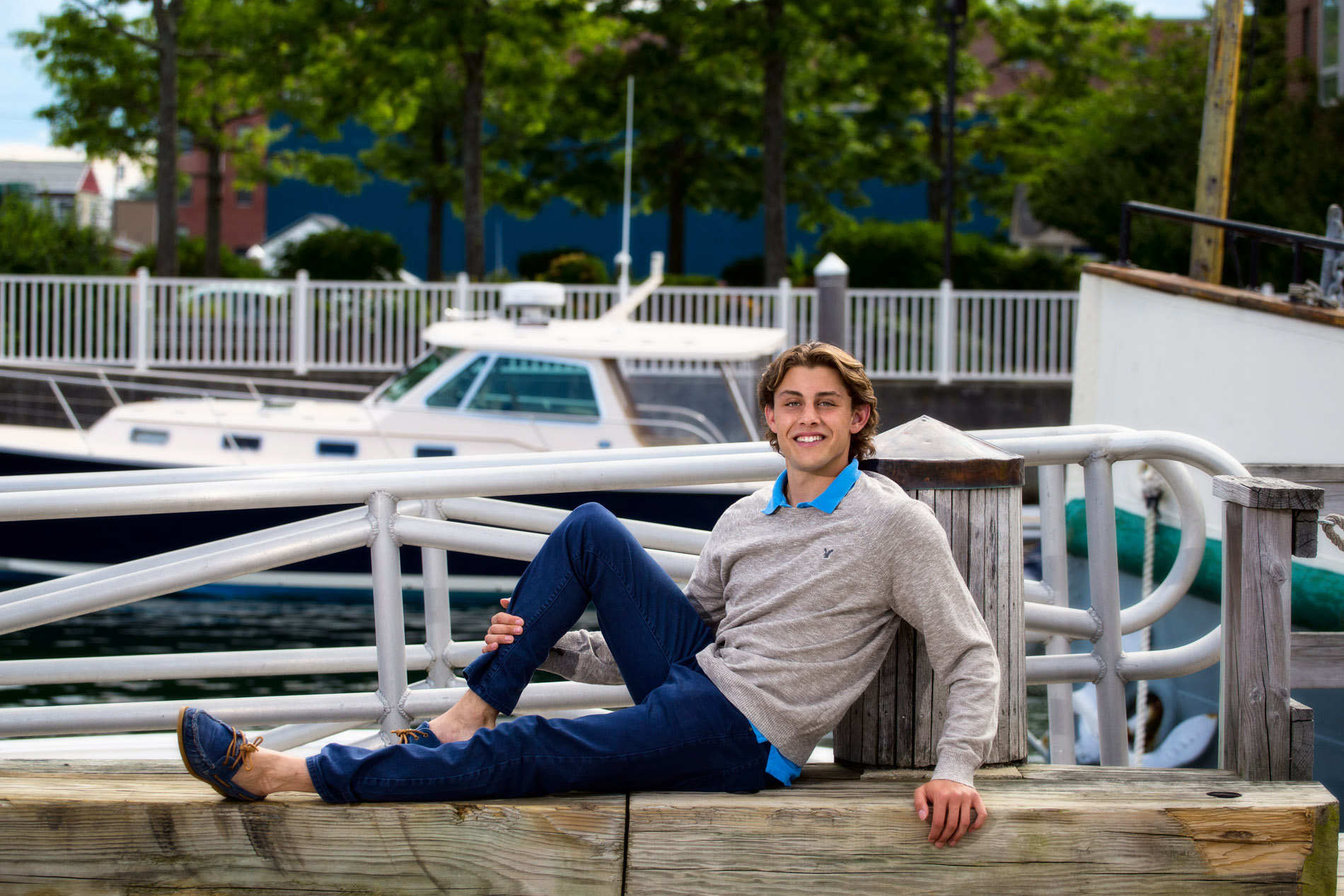 boy at waterfront for senior photos