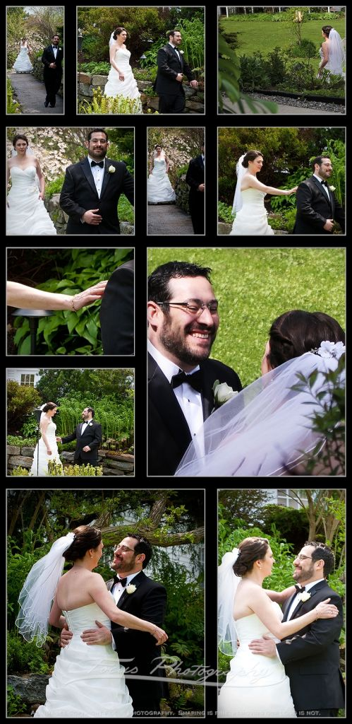 Bride and groom see each other before wedding ceremony