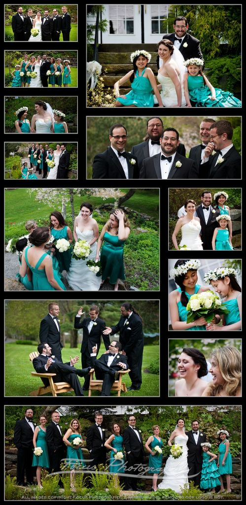 Photos of the wedding party and the bride and groom