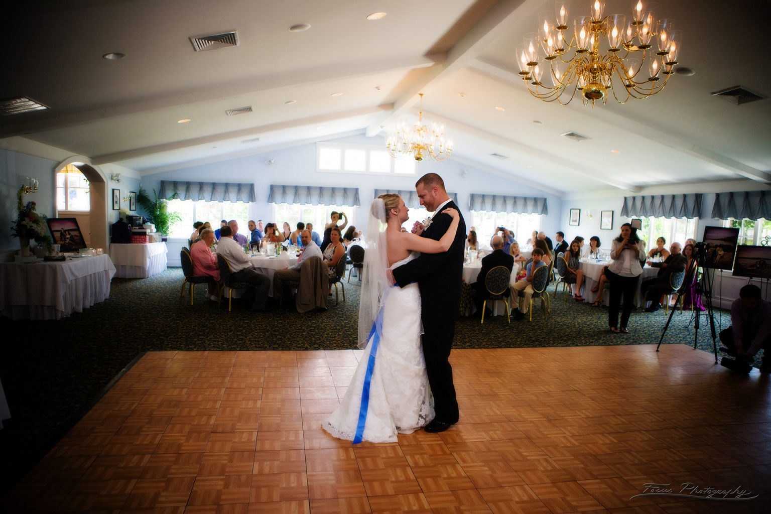 The bride and groom's first dance of their wedding