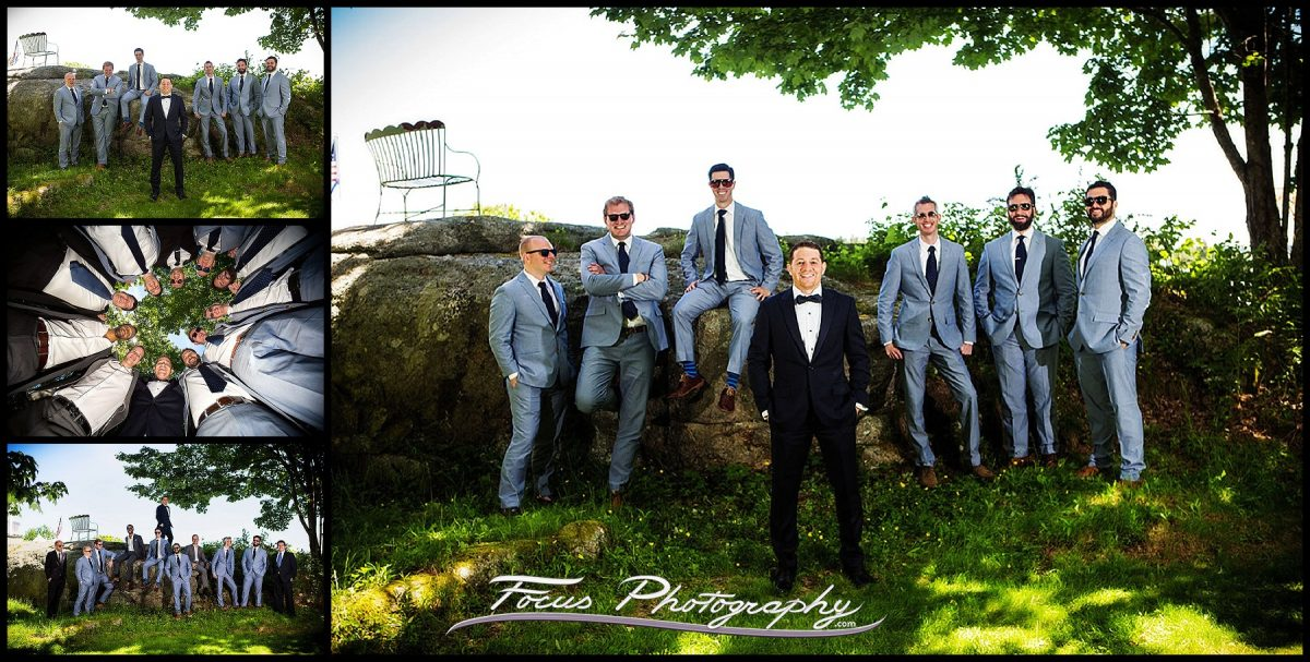 Groomsmen - photo of all the groomsmen and attendants at Grey Havens Inn wedding in Georgetown, ME
