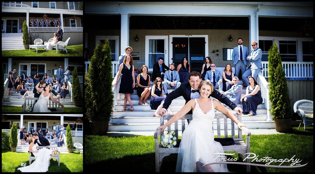 The wedding party - portrait of complete wedding party at Grey Havens Inn in Georgetown Maine. Wedding pictures by Focus Photography.