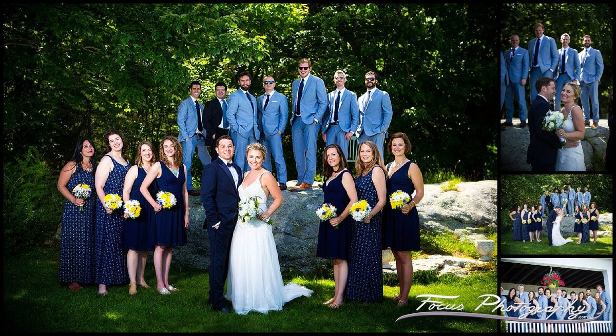 Wedding Party - A formal photo of the bride and groom with their wedding party at Grey Havens Inn in Georgetown, Maine