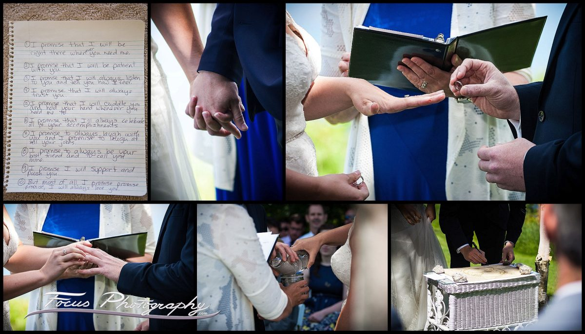 Ceremony details - exchange of rings, wedding vows, signing of Ketubah.