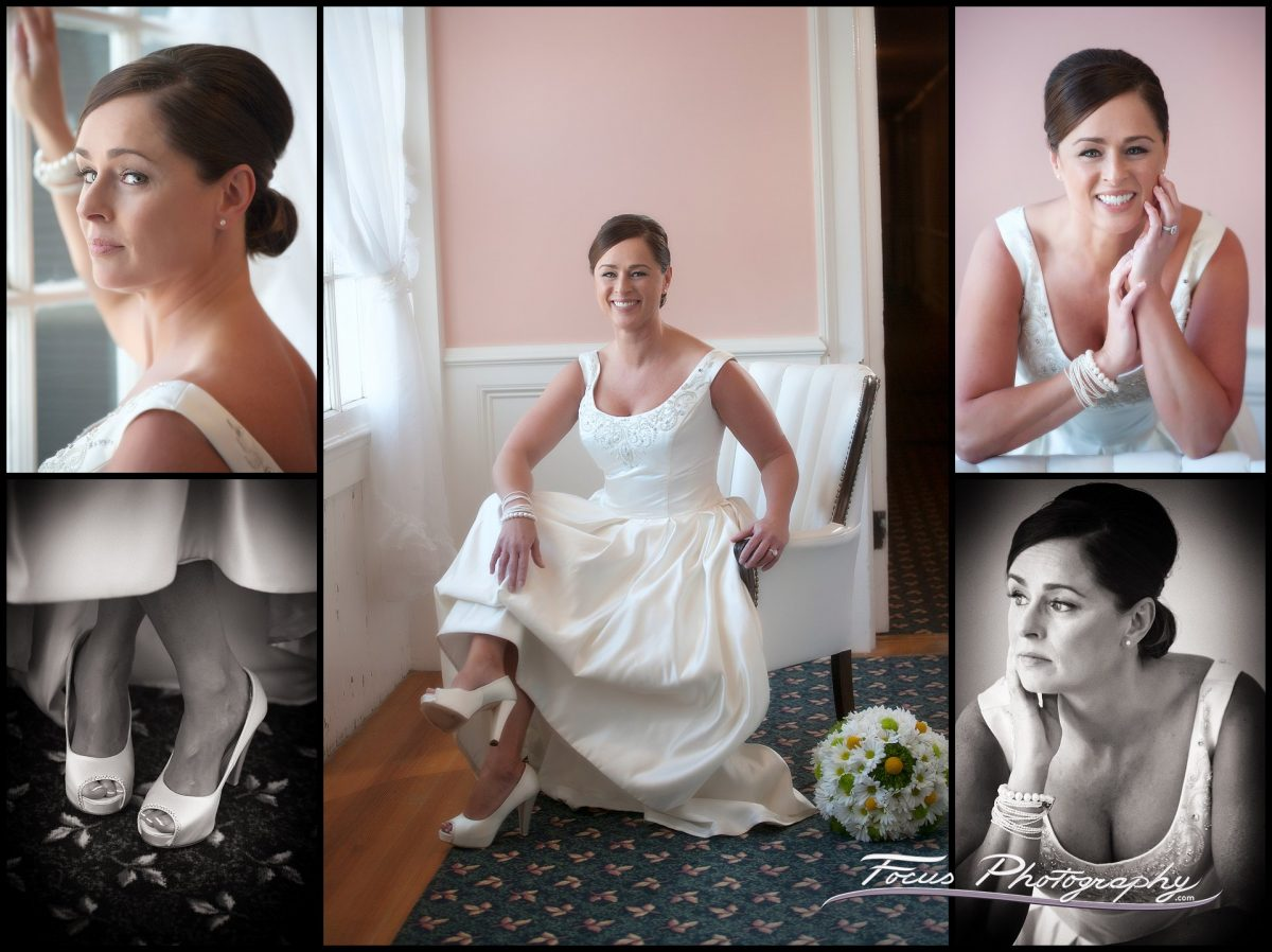 portraits of the bride at Colony Hotel wedding in Kennebunkport, Maine