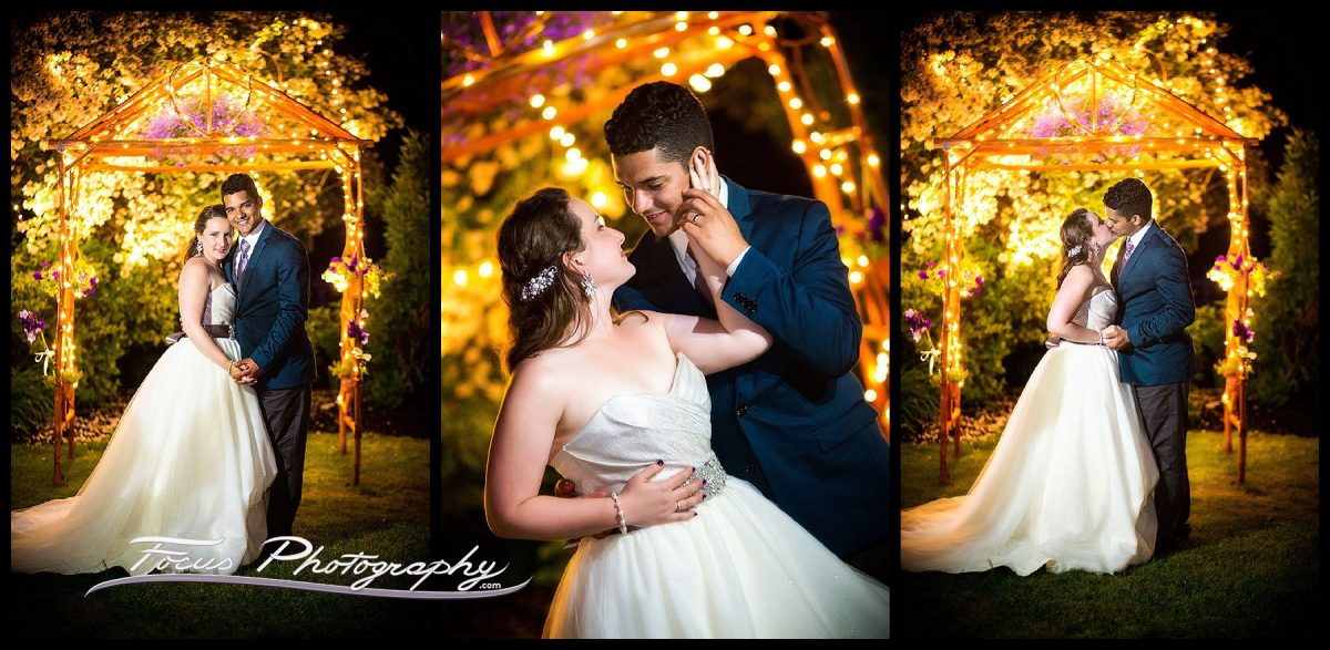 Night time portraits of bride and groom at Falmouth, Maine wedding.