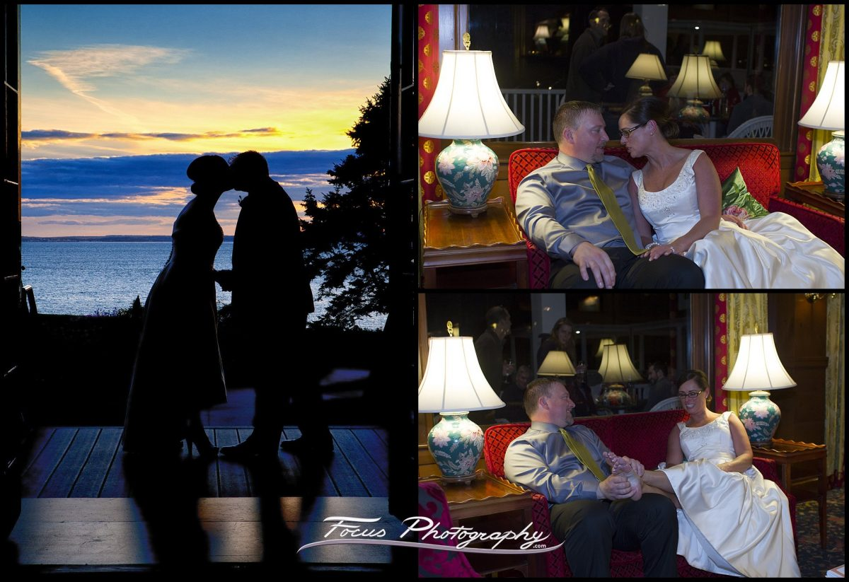 sunset silhouette of bride and groom at Colony Hotel wedding in Kennebunkport, Maine