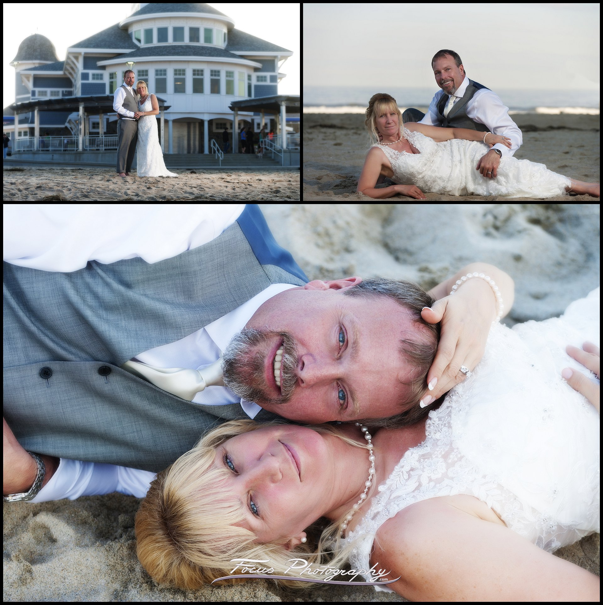 wedding pictures of bride and groom at Seashell Oceanfront Pavilion at Hampton Beach State Park
