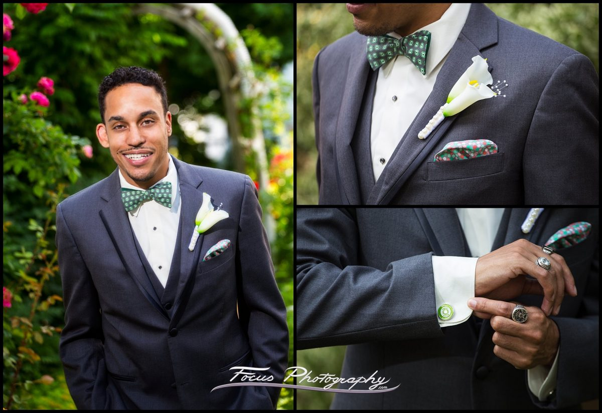 Details of the groom's suit, cufflinks, and flowers at Portland, Maine wedding