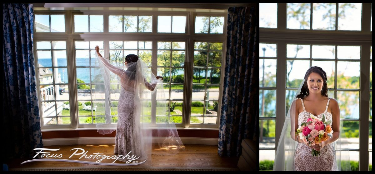bridal portrait at York Harbor Inn at Maine wedding