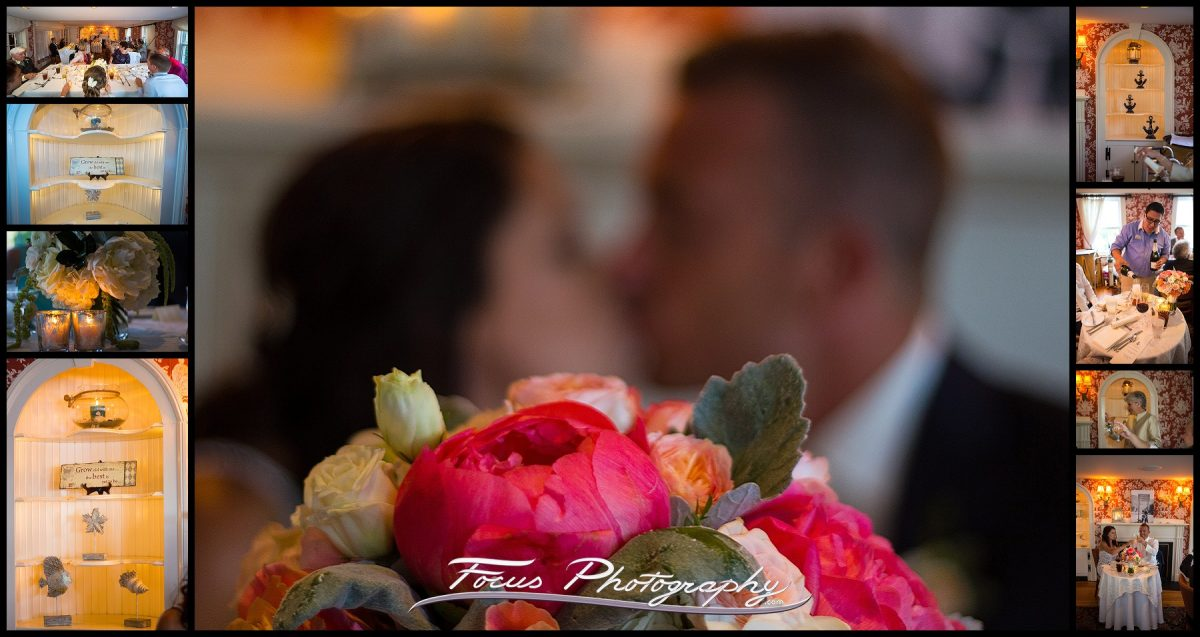 The bride and groom share a kiss during dinner at York Harbor Inn