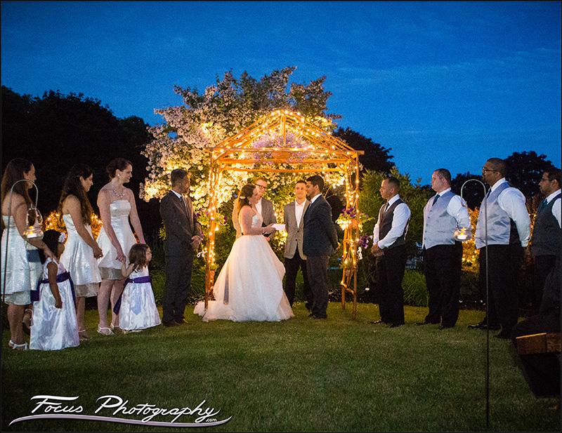twilight ceremony at maine backyard wedding