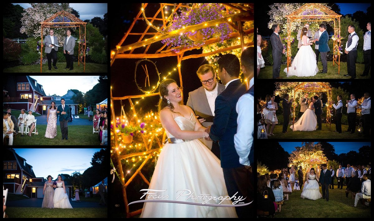 wedding photos of twilight ceremony in Falmouth Maine