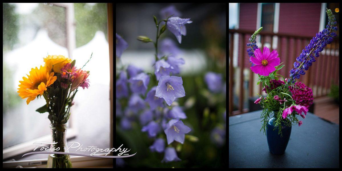 Flowers at maine backyard wedding