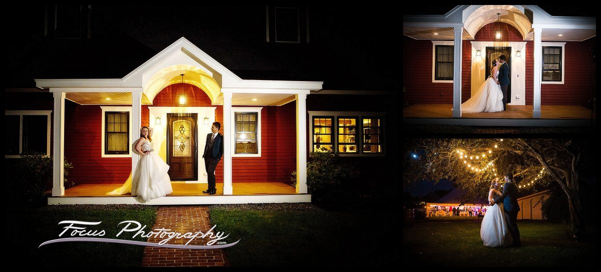 night photography of bride and groom