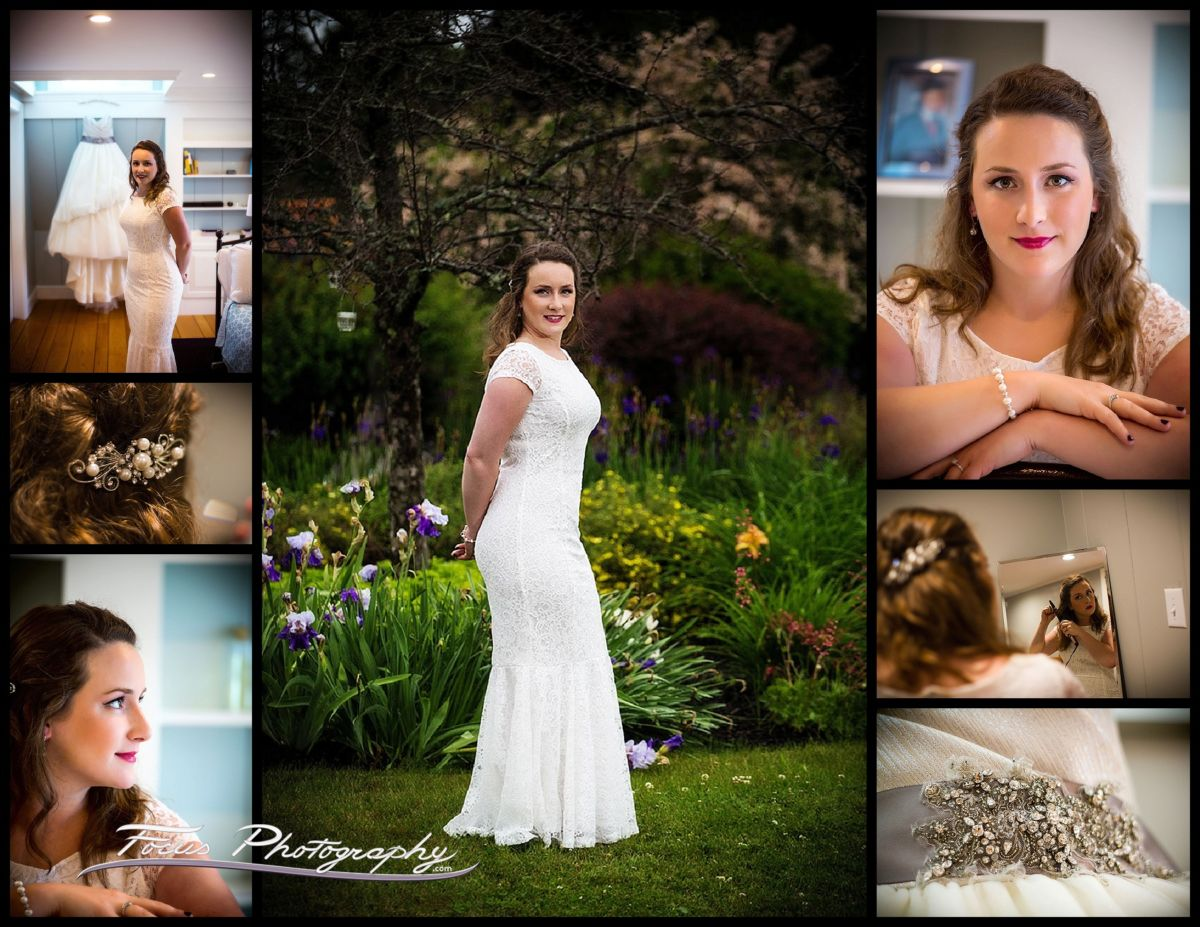 Portraits of the bride at Maine wedding in back yard